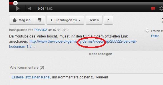 Der 'offizielle Link' sieht dem von The Voice of Germany zum Verwechseln ähnlich!