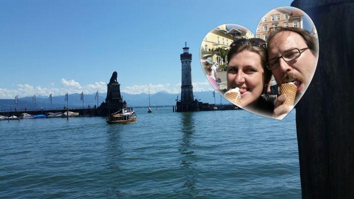 Eis am Hafen von Lindau-Insel (und auf keinen Fall die Schweiß Herzchen vergessen!)