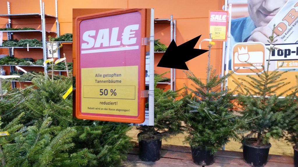 Was mir niemand sagte: Die getopften Weihnachtsbäume sind nicht im Preis, sondern in der Länge reduziert!